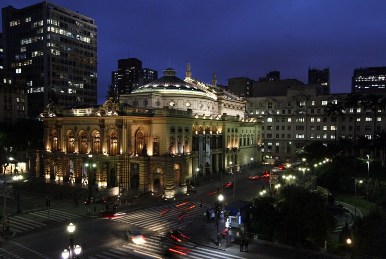 A general view of the Municipal Theater in Sao Paulo on April 14, 2014. Sao Paulo is one of the host cities for the 2014 World Cup in Brazil. (REUTERS/Paulo Whitaker)