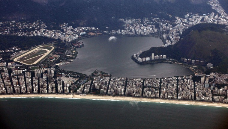 Aerial view of Rodrigo de freitas lagoon in Rio de Janeiro on March 22, 2014. Rio de Janeiro is one of the host cities for the 2014 World Cup in Brazil. (REUTERS/Paulo Whitaker)