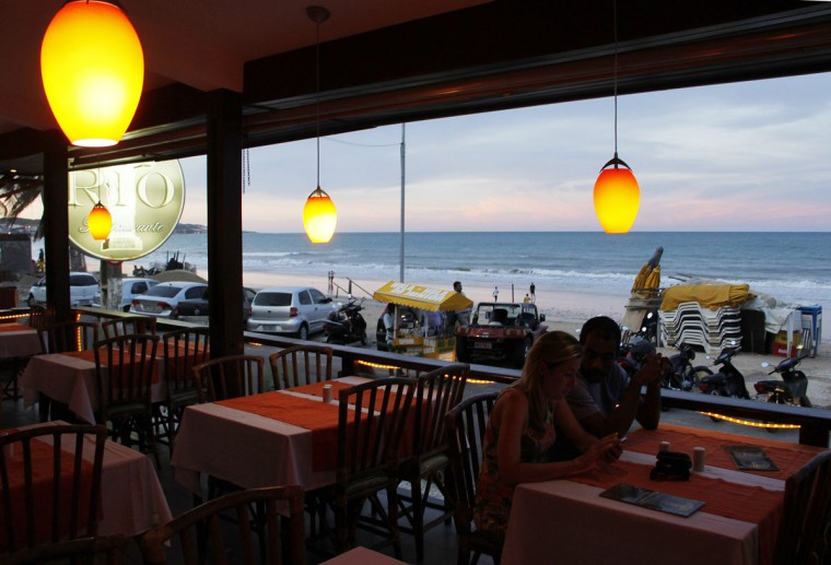 A view of a restaurant in the Ponta Negra beach in Natal, northeastern Brazil, March 26, 2014. Natal is one of the host cities for the 2014 World Cup in Brazil. (REUTERS/Nuno Guimaraes)