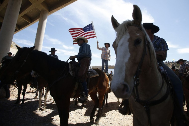 Protester Chanley Iverson of Arizona waves the U.S. flag near the Bureau of Land Management's base camp where seized cattle, that belonged to rancher Cliven Bundy, are being held at near Bunkerville, Nevada April 12, 2014. U.S. officials ended a stand-off with hundreds of armed protesters in the Nevada desert on Saturday, calling off the government's roundup of cattle it said were illegally grazing on federal land and giving about 300 animals back to rancher Bundy who owned them. (REUTERS/Jim Urquhart)