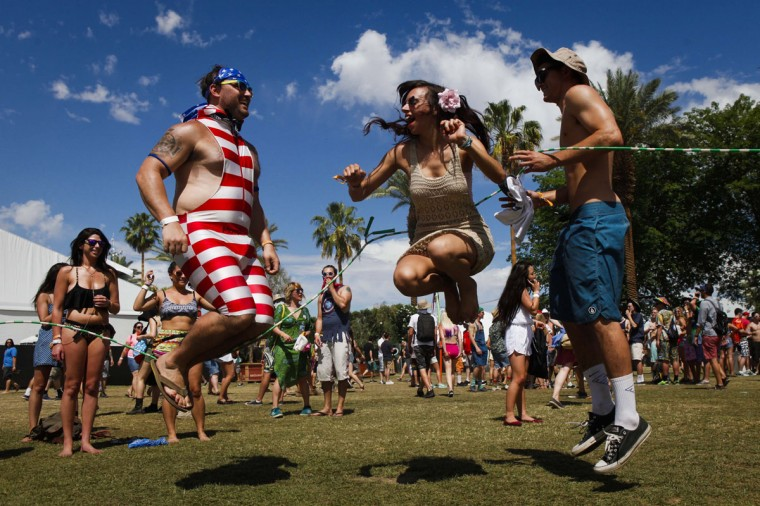 A group of friends jump rope on the first day of the Coachella Music and Arts Festival in Indio, Calif., on Friday, April 11, 2014. (Bethany Mollenkof/Los Angeles Times/MCT)