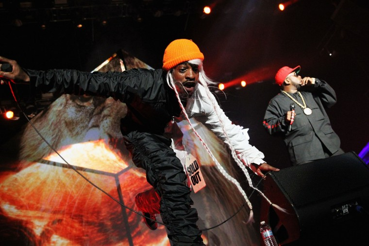 Andre 3000 and Big Boi of Outkast perform during the first day of the 2014 Coachella Valley Music & Arts Festival at the Empire Polo Club in Indio, California. (Karl Walter/Getty Images for Coachella)
