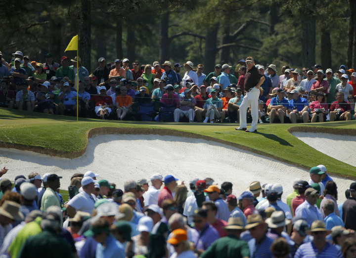Spain's Miguel Angel Jimenez waits to putt on the seventh green during the third round of the Masters golf tournament at the Augusta National Golf Club in Augusta, Ga. (Brian Snyder/Reuters)