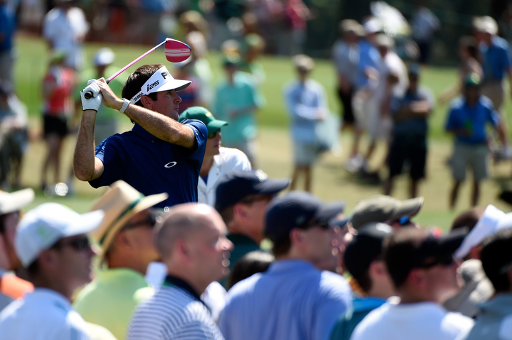Bubba Watson watches his tee shot on the third hole during the third round of the 2014 Masters Tournament at Augusta National Golf Club in Augusta, Ga. (Harry How/Getty Images)