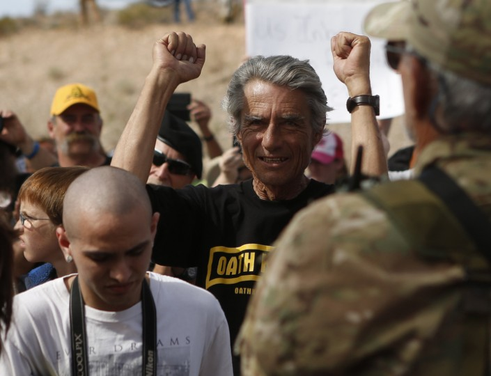 A protester reacts in Bunkerville, Nev after Clark County Sheriff Douglas Gillespie announced the Bureau of Land Management was ceasing its cattle roundup operation. (Jim Urquhart/Reuters)