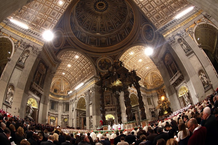 inside St. Peter's Basilica during the Holy Saturday Easter vigil mass celebrated by Pope Francis in Vatican City, Vatican. The Pope will lead Easter Sunday Mass celebrating the resurrection of Jesus tomorrow in St. Peter's Square. (Franco Origlia/Getty Images)