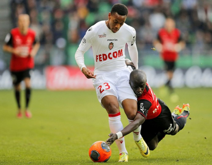 Monaco's Anthony Martial challenges a falling Stade Rennes' Cheikh M'Bengue during their French Ligue 1 soccer match at the Route de Lorient stadium in Rennes, France. (Stephane Mahe/Reuters)