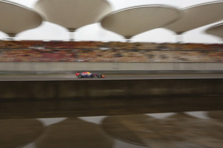 Red Bull Formula One driver Sebastian Vettel of Germany drives during the third practice session of the Chinese F1 Grand Prix at the Shanghai International circuit. (Aly Song/Reuters)