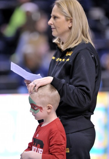 Maryland Terrapins head coach Brenda Frese on the ourt with her son Tyler Frese as the team practices before the semifinals of the Final Four. The team will play Notre Dame and try to get to the 2014 NCAA Womens Division I Championship game at Bridgestone Arena in Nashville. (Jim Brown/USA Today Sports)