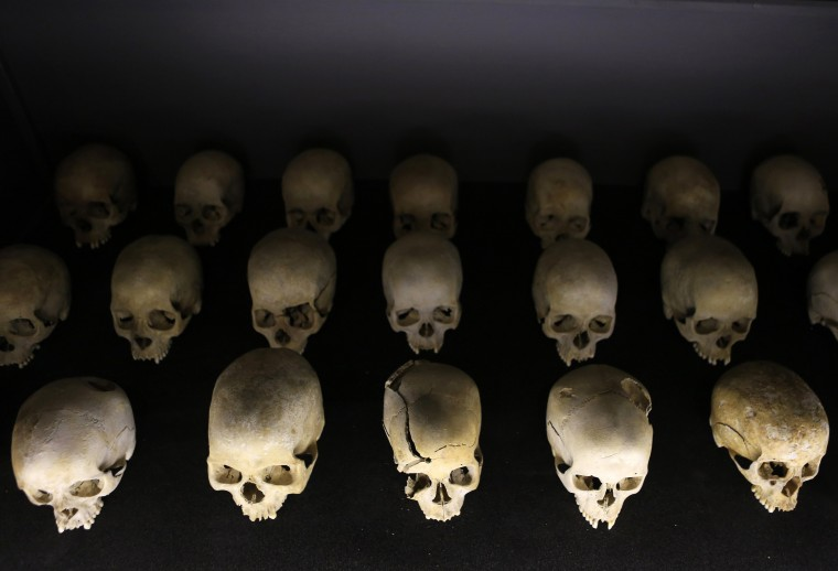 Preserved human skulls are seen on display at the Kigali Genocide Memorial Centre, as the country prepares to commemorate the twentieth anniversary of the 1994 genocide in the Rwandan capital Kigali. An estimated 800,000 people were killed in 100 days during this genocide. (Noor Khamis/Reuters)