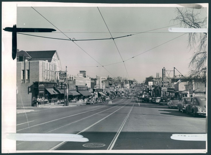 Harford Road looking north toward Hamilton Avenue. (Baltimore Sun file/Dec. 18, 1950)