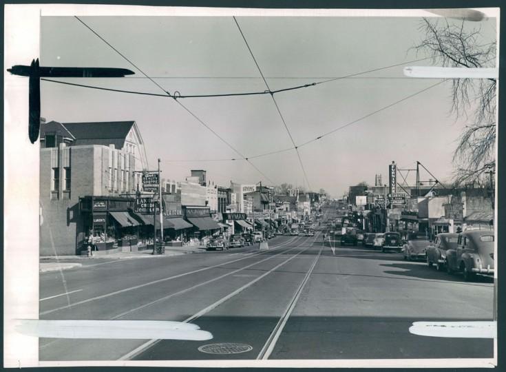 Harford Road looking north toward Hamilton Avenue. (Baltimore Sun file/Dec. 18, 1950)