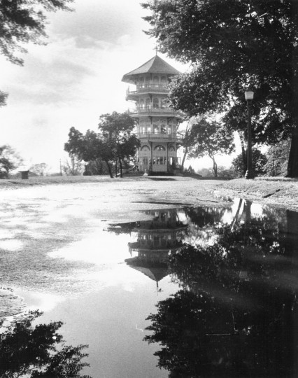 In October 1971, the Patterson Park pagoda is reflected in a large pool of water left by the tropical storm Agnes, which wreaked havoc in the Baltimore area and much of the state. The scene is calm here, but the state as a whole was an official disaster area. (Lloyd Pearson/Baltimore Sun)