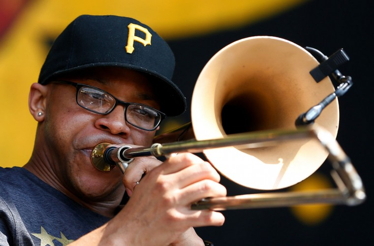Winston Turner of the Brass-A-Holics performs during the first day of the New Orleans Jazz and Heritage Festival. (REUTERS/Jonathan Bachman)
