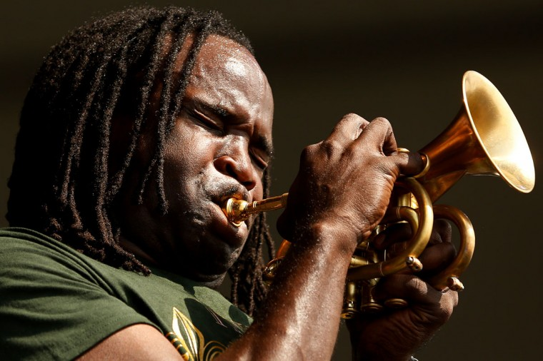Shamarr Allen performs during the first day of the New Orleans Jazz and Heritage Festival. (REUTERS/Jonathan Bachman)