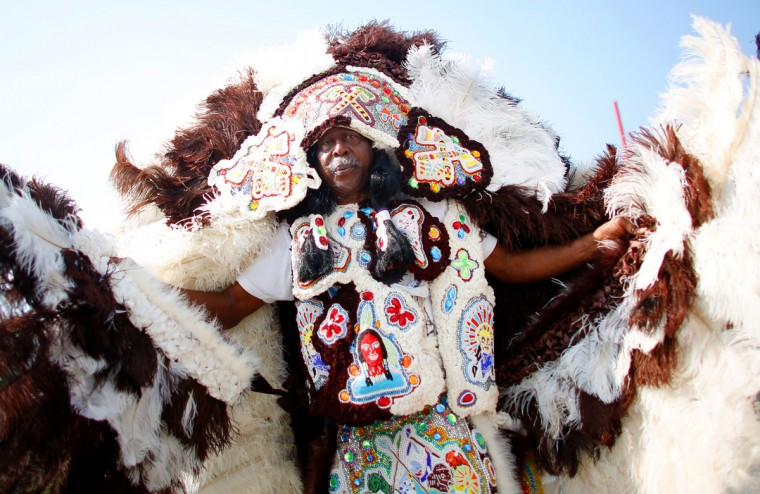 A Mardi Gras Indian parades during the first day of the New Orleans Jazz and Heritage Festival. (REUTERS/Jonathan Bachman)