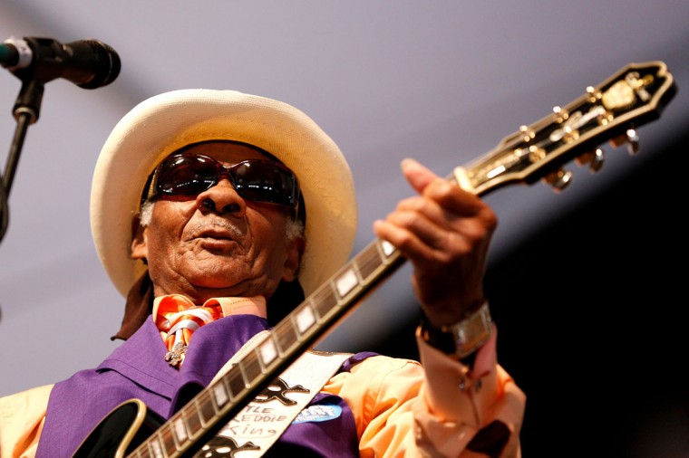 Local musician Little Freddie King performs during the first day of the New Orleans Jazz and Heritage Festival. (REUTERS/Jonathan Bachman)