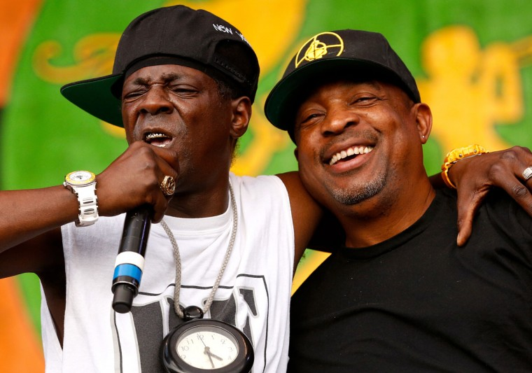 Flavor Flav, left, and Chuck D of Public Enemy perform during the first day of the New Orleans Jazz and Heritage Festival. (REUTERS/Jonathan Bachman)