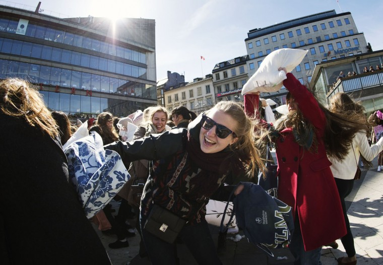 Young women take part in the International Pillow Fight Day on April 5, 2014 in Stockholm, Sweden. Pillow fights take place in various places around the world on April 5, 2014. (Jonathan Nackstrand/AFP/Getty Images)