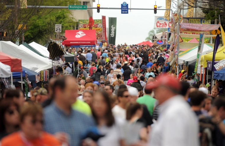 Festival-goers pack Pennsylvania Avenue and other streets in downtown Towson during the Towsontown Spring Festival on Saturday, May 3. (Brian Krista/BSMG)