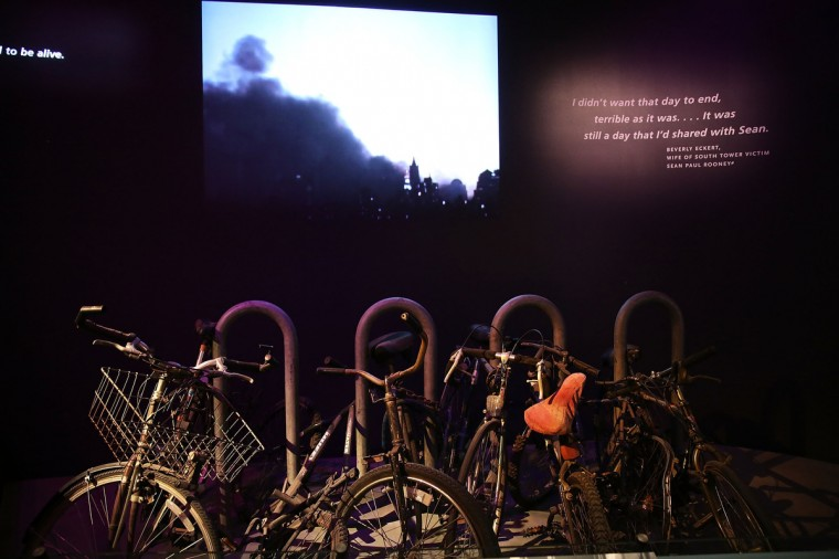 A salvaged bicycle rack from Ground Zero is viewed during a preview of the National September 11 Memorial Museum on May 14, 2014 in New York City. (Spencer Platt/Getty Images)