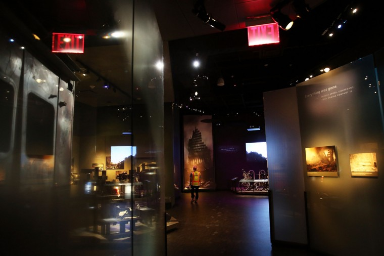 Artifacts and images from Ground Zero are viewed during a preview of the National September 11 Memorial Museum. (Spencer Platt/Getty Images)