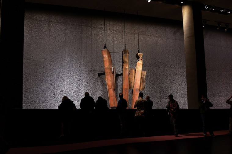A salvaged section of steel facade from the North Tower from Ground Zero is viewed during a preview of the National September 11 Memorial Museum. (Spencer Platt/Getty Images)