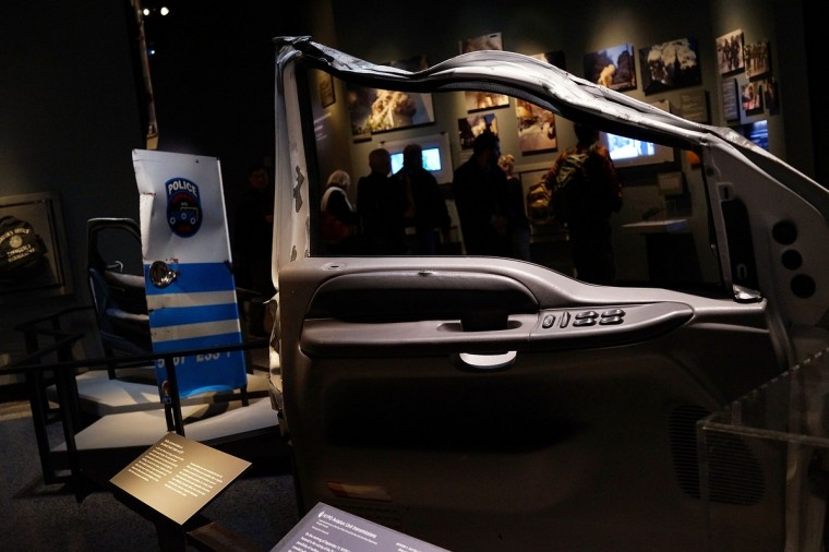 Artifacts from Ground Zero is viewed during a preview of the National September 11 Memorial Museum. (Spencer Platt/Getty Images)