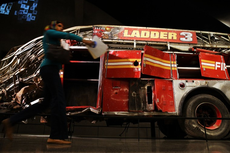 The destroyed Ladder 3 fire truck is viewed during a tour of the National September 11 Memorial Museum. (Spencer Platt/Getty Images)