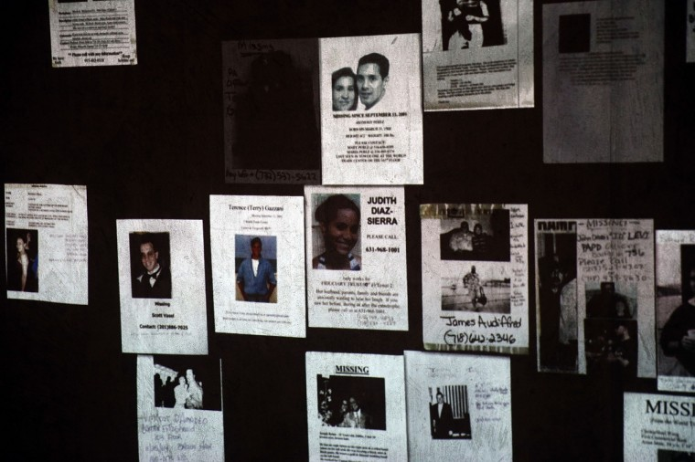 Handmade missing posters of victims of September 11 are viewed during a tour of the National September 11 Memorial Museum. (Spencer Platt/Getty Images)