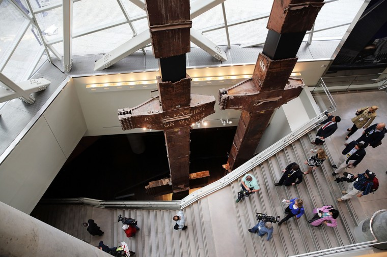 The salvaged tridents from the World Trade Center are viewed during a preview of the National September 11 Memorial Museum. (Spencer Platt/Getty Images)