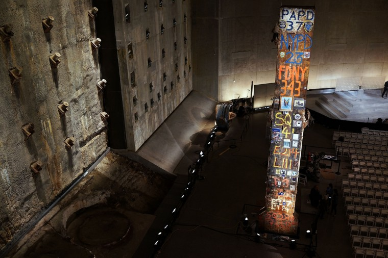 A decorated pillar from Ground Zero and the Slurry Wall are viewed during a tour of the National September 11 Memorial Museum on May 14, 2014 in New York City. (Spencer Platt/Getty Images)