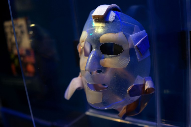 A recovery mask used by a burn victim from the attacks on September 11 is viewed during a tour of the National September 11 Memorial Museum. (Spencer Platt/Getty Images)