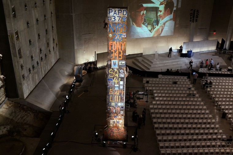 A decorated pillar from Ground Zero and the Slurry Wall are viewed during a tour of the National September 11 Memorial Museum. (Spencer Platt/Getty Images)
