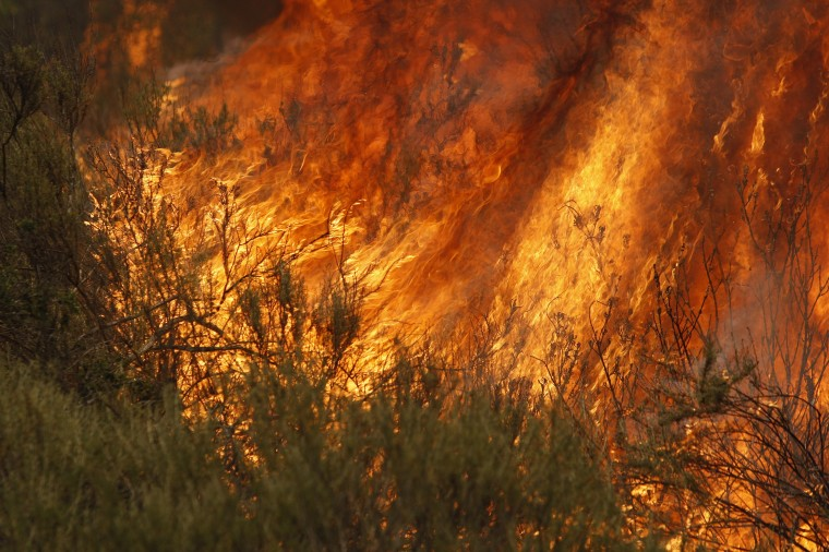Flames spread at the Cocos fire on May 15, 2014 in San Marcos, California. Fire agencies throughout the state are scrambling to prepare for what is expected to be a dangerous year of wildfires in this third year of extreme drought in California. (Photo by David McNew/Getty Images)