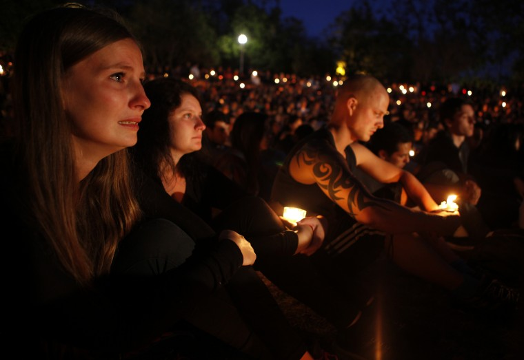Students gather on the UC Santa Barbara campus for a candlelight vigil for those affected by the tragedy in Isla Vista on May 24, 2014 in Santa Barbara, California. (Spencer Weiner/Getty Images)