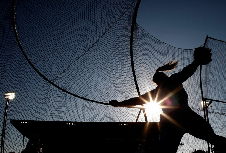 Sandra Perkovic of Croatia competes in the discus during day 1 of the IAAF Diamond League Nike Prefontaine Classic at the Hayward Field in Eugene, Oregon. (Jonathan Ferrey/Getty Images)