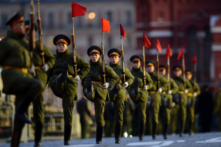 Russian soldiers march during a rehearsal of the Victory Day Parade in Moscow. The parade will take place on the Red Square in Moscow on May 9 to commemorate the 1945 defeat of Nazi Germany. (Kirill Kudryavtsev/Getty Images)
