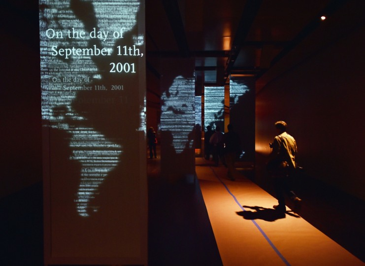 Audio and visual panels seen during a press preview of the National September 11 Memorial Museum at the World Trade Center site May 14, 2014 in New York. (Stan Honda/Getty Images)
