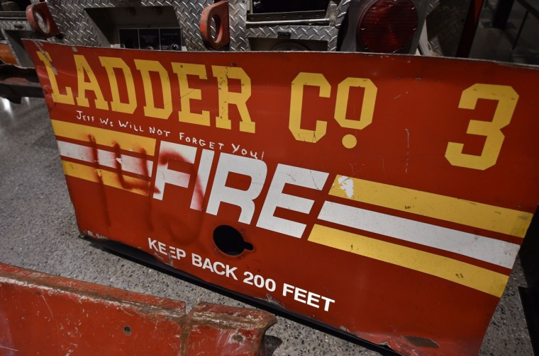 Remains of a New York City Fire Department Ladder Company 3 truck seen during a press preview of the National September 11 Memorial Museum at the World Trade Center site May 14, 2014 in New York. (Stan Honda/Getty Images)