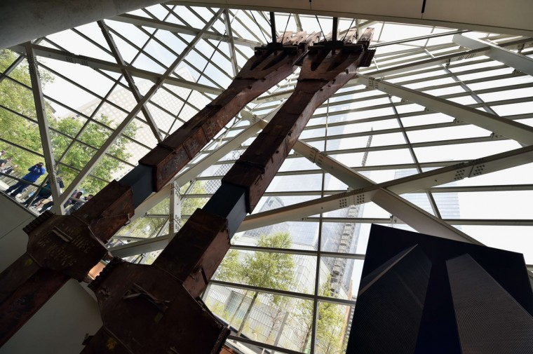 "World Trade Center ""tridents"", two steel columns that formed part of the building's structural support, seen during a press preview of the National September 11 Memorial Museum at the World Trade Center site May 14, 2014 in New York. (Stan Honda/Getty Images)"