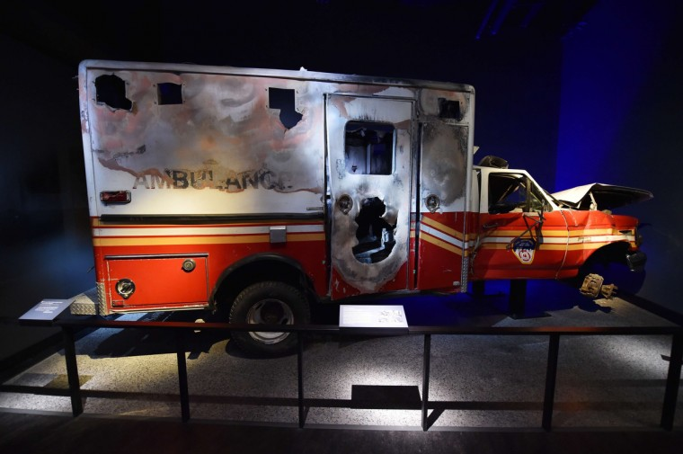 A New York Fire Department ambulance, is seen during a press preview of the National September 11 Memorial Museum at the World Trade Center site May 14, 2014 in New York. (Stan Honda/Getty Images)