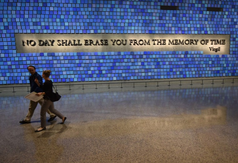 A quote from Virgil seen during a press preview of the National September 11 Memorial Museum at the World Trade Center site May 14, 2014 in New York. (Stan Honda/Getty Images)
