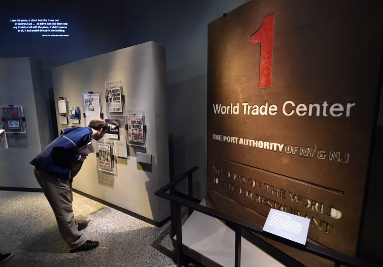 A One World Trade Center sign and exhibits seen during a press preview of the National September 11 Memorial Museum at the World Trade Center site May 14, 2014 in New York. (Stan Honda/Getty Images)