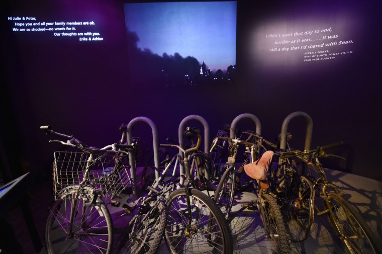 Bicycles and a bike rack seen during a press preview of the National September 11 Memorial Museum at the World Trade Center site May 14, 2014 in New York. (Stan Honda/Getty Images)