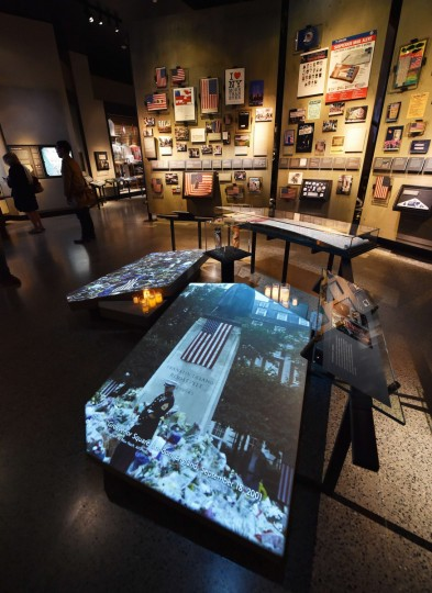 An exhibit of memorials seen during a press preview of the National September 11 Memorial Museum at the World Trade Center site May 14, 2014 in New York. (Stan Honda/Getty Images)
