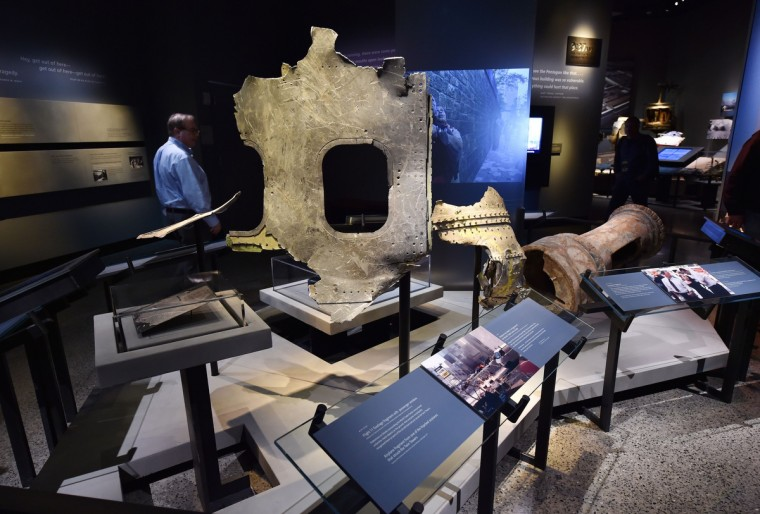 Pieces of the plane of Flight 11 seen during a press preview of the National September 11 Memorial Museum at the World Trade Center site May 14, 2014 in New York. (Stan Honda/Getty Images)