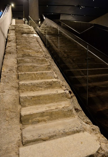 """The """"Survivor Stairs"""", remnants of a Vesey Street staircase where many people who worked at the World Trade Center towers during the September 11, 2001 attack escaped to the street, seen during a press preview of the National September 11 Memorial Museum at the World Trade Center site May 14, 2014 in New York. (Stan Honda/Getty Images)"""