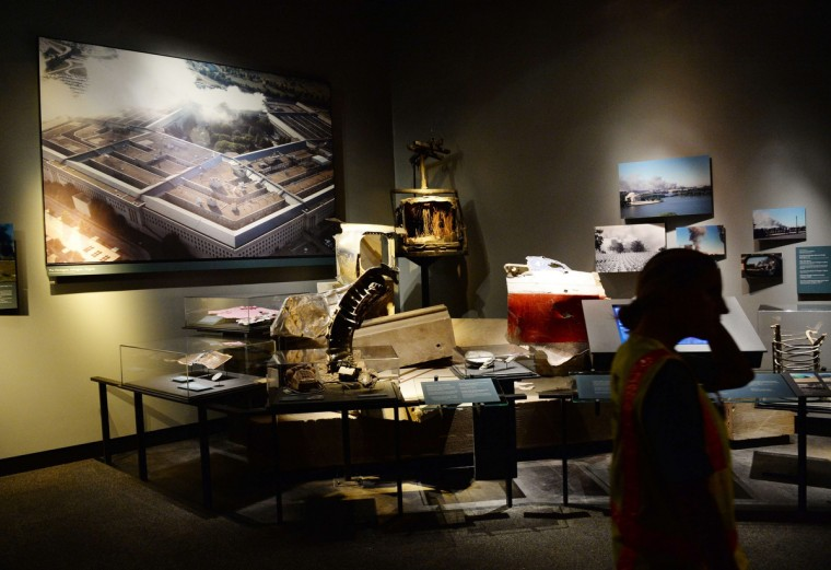 An exhibit about the September 11, 2001 attack on the Pentagon, seen during a press preview of the National September 11 Memorial Museum at the World Trade Center site May 14, 2014 in New York. (Stan Honda/Getty Images)