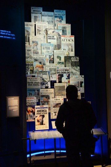 A display of front pages of newspapers, seen during a press preview of the National September 11 Memorial Museum at the World Trade Center site May 14, 2014 in New York. (Stan Honda/Getty Images)